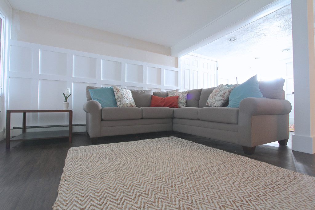 a sectional sofa in the family room