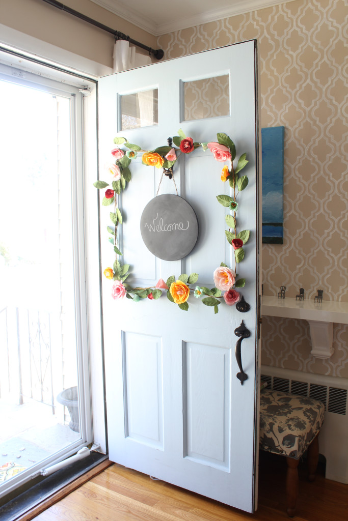 flower garland on door