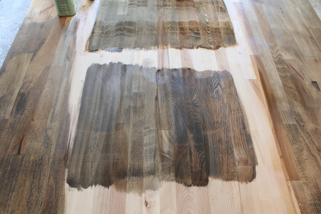 DIY dining table; stained butcher block with a metal base
